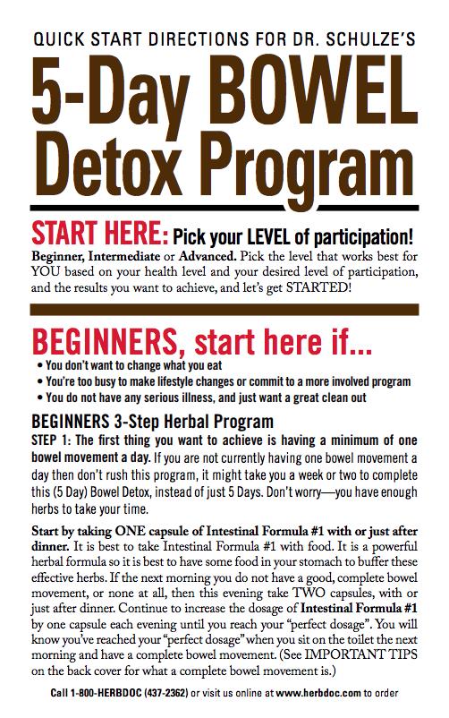 5-Day Bowel Detox Program — Directions from Dr  Schulze